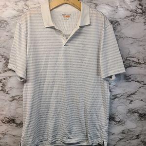 Van Heusen Men's White Striped Polo L #B9